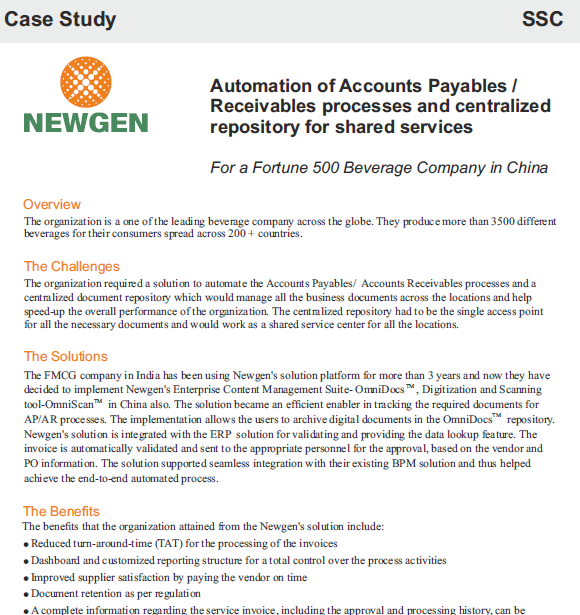 Case Study: Automation of Accounts Payable at a leading Beverage Producer Across the Globe