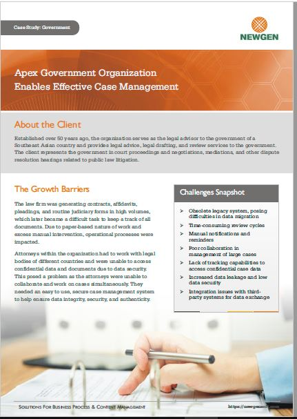 Case Study: Case Management Implementation for an Apex Government Organization