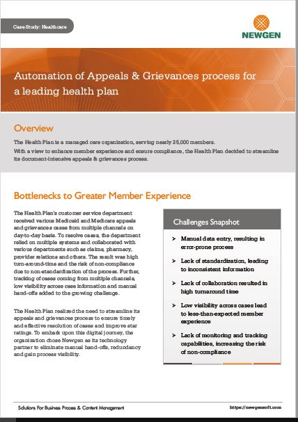 Case Study: Appeals & Grievances Automation for a Leading Health Plan