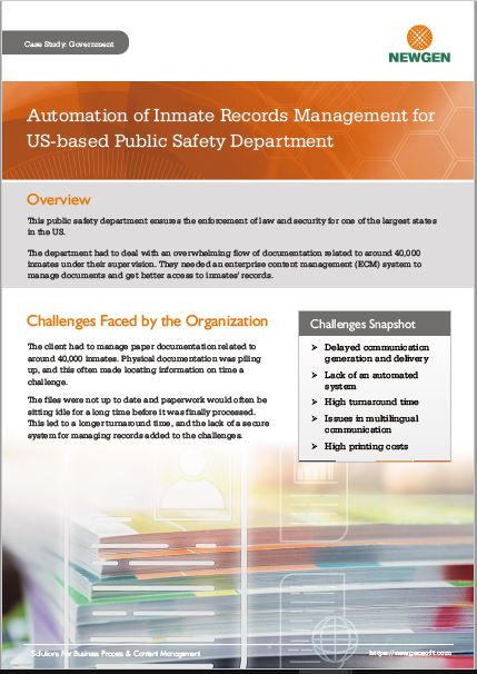 Case Study: Automation of Inmate Records Management for US-based Public Safety Department