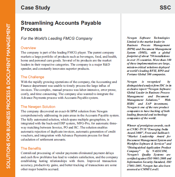 Case Study: Automation of Accounts Payable for a leading FMCG player