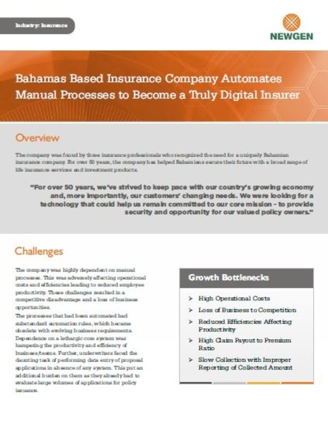 Case Study: Bahamas-Based Insurance Company Automates Manual Processes to Become a Truly Digital Insurer