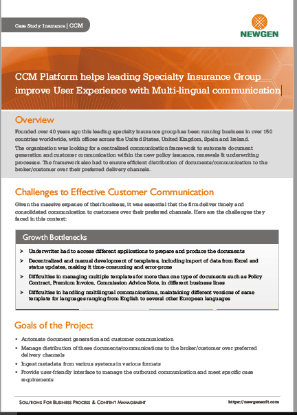 Case Study: CCM Platform helps leading Specialty Insurance Group Improve User Experience with Multi-lingual Communication