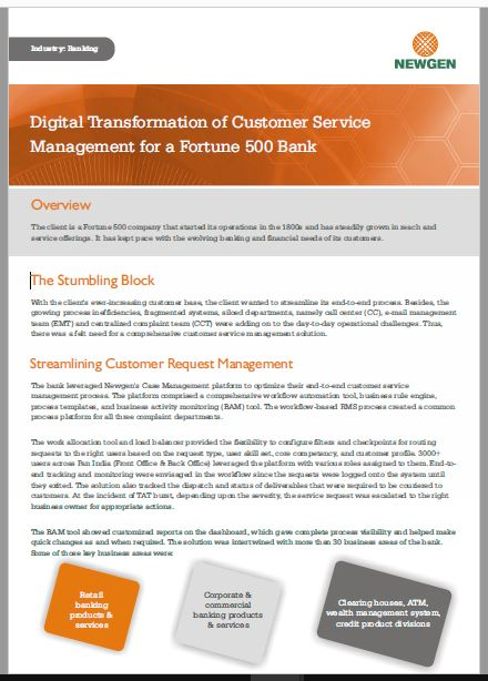 Case Study: Customer Service Management Process Transformation for a Fortune 500 Bank