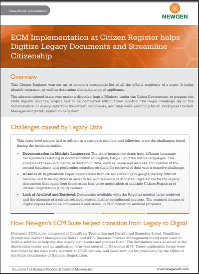 Case Study: ECM Implementation at Citizen Register helps Digitize Legacy Documents and Streamline Citizenship