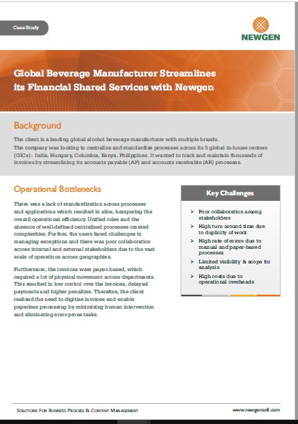 Case Study: Financial Shared Services Transformation for a Global Beverage Manufacturer