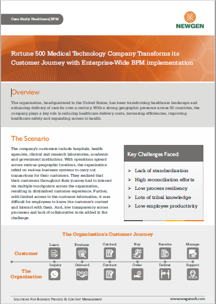 Case Study: Fortune 500 medical technology company transforms its customer journey with enterprise-wide BPM implementation