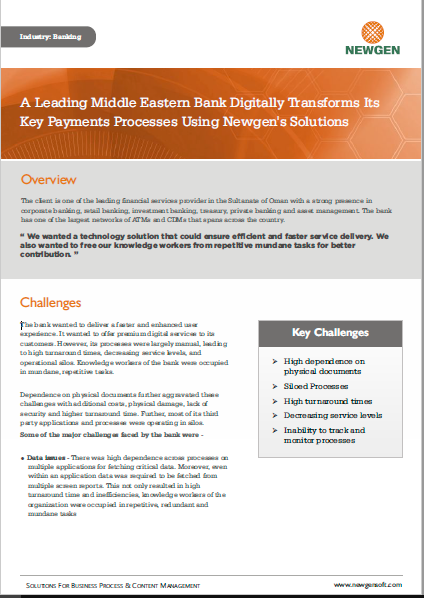 Case Study: A Leading Middle Eastern Bank Transforms Key Payments Processes