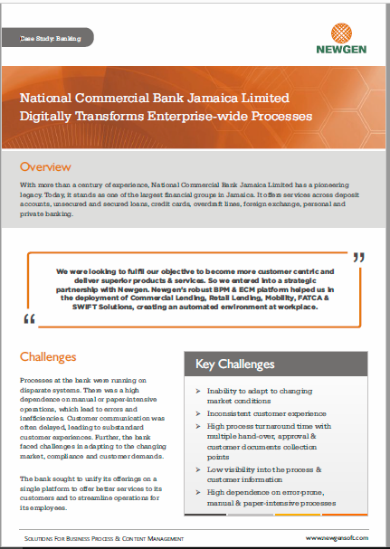 Case Study: National Commercial Bank Jamaica Limited Digitally Transforms Enterprise-wide Processes