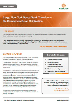 Case Study: New York Based Community Bank Transforms Its Commercial Loan Origination