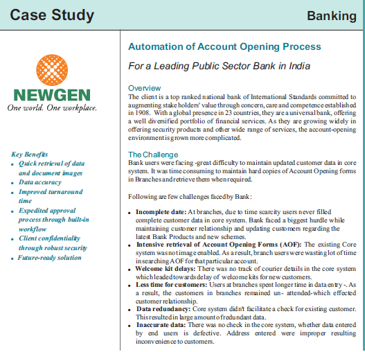 Case Study: Account Opening Process Automation for Leading Public Sector Bank