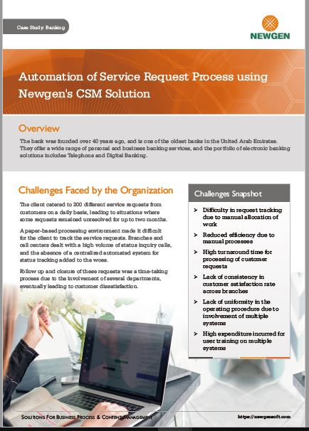Case Study: Automating the Service Request Process with Newgen's Customer Service Management Application