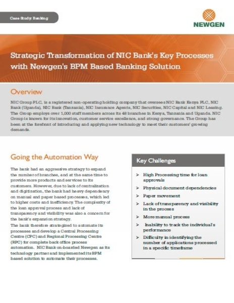 Case Study: NIC Bank Transforms Key Processes with Newgen's BPM Banking Solution