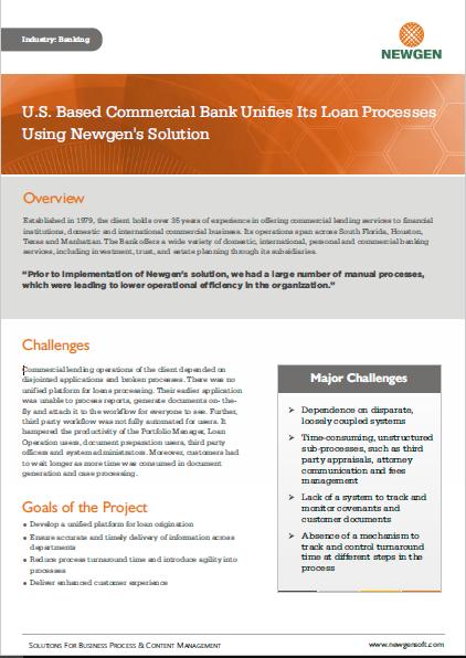 Case Study: US-Based Commercial Bank Unifies Its Lending Processes Using Newgen's Solution