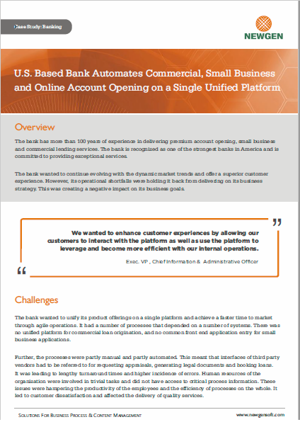 Case Study: US-Based Bank Automates Account Opening Processes on Newgen's Platform