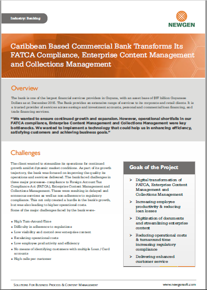 Case Study: Caribbean Based Commercial Bank Transforms FATCA, ECM and Collections Management