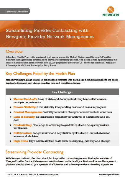 Case Study: Streamlined Provider Contracting with Newgen's Provider Network Management
