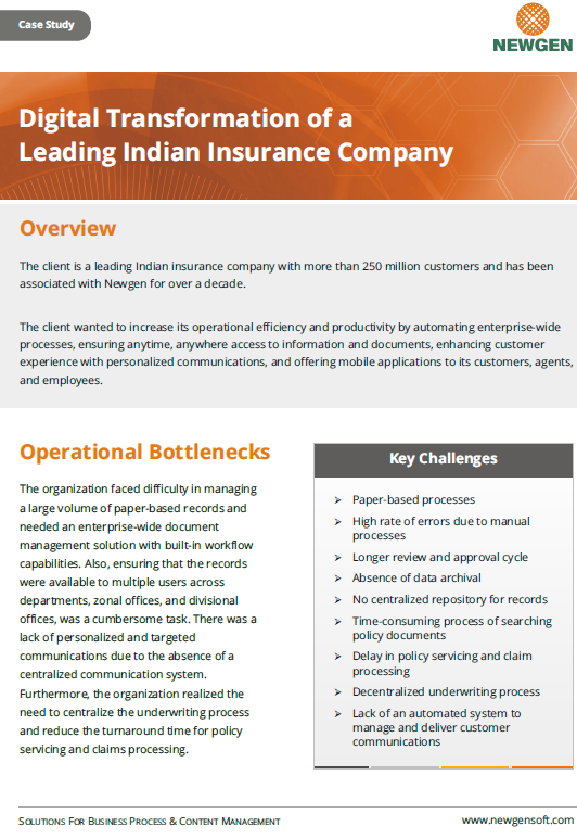 Case Study: Digital Transformation of a Leading Life Insurance Company