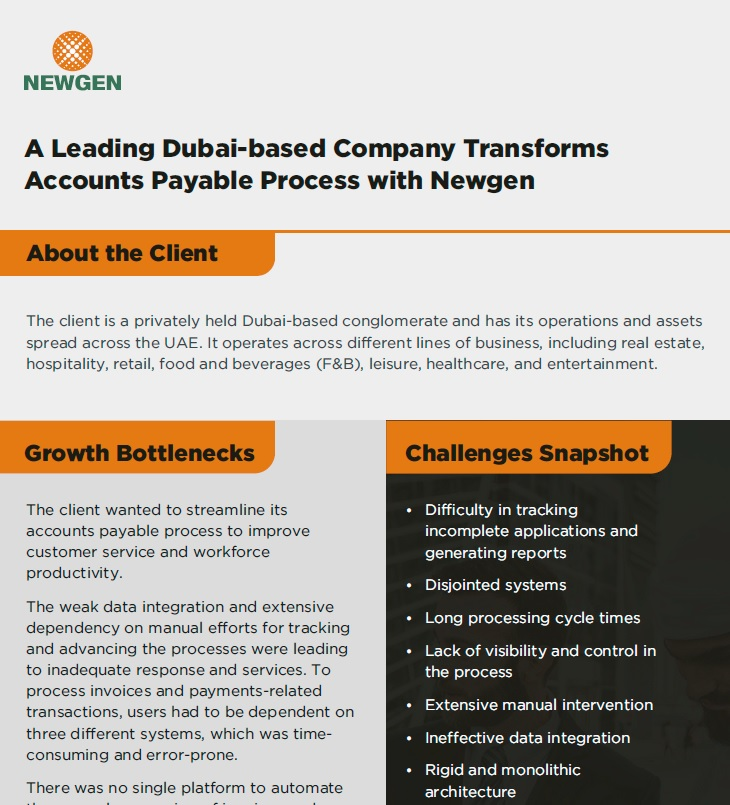 Case Study:  A Leading Dubai-based Company Transforms Accounts Payable Process with Newgen