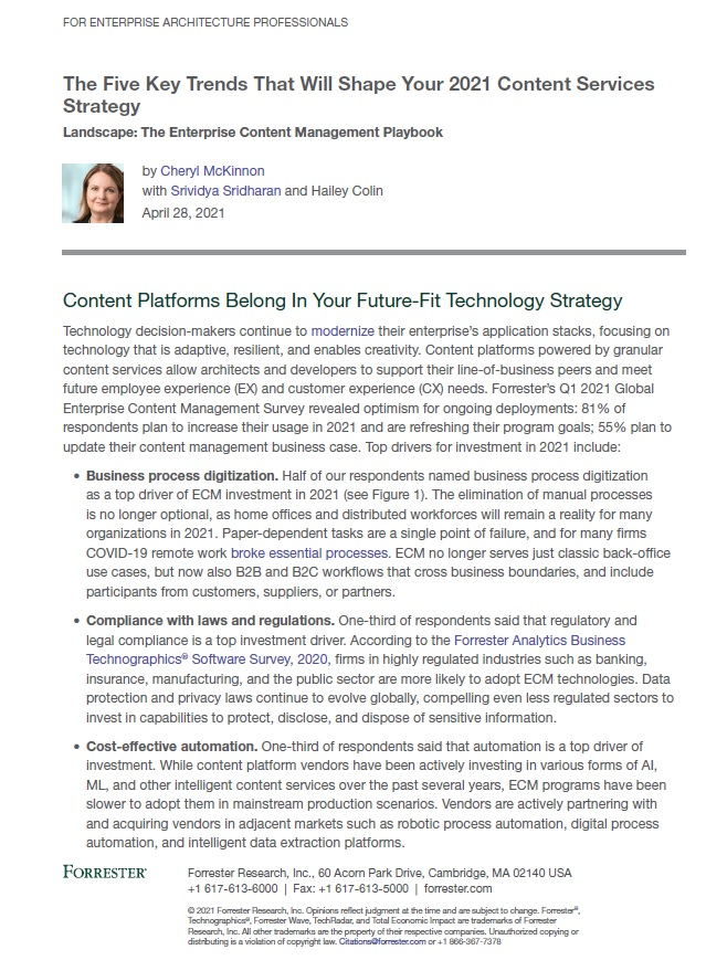 Analyst Report: The Five Key Trends That Will Shape Your 2021 Content Services Strategy