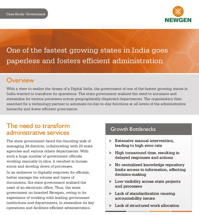 Case Study: One of the fastest growing states in India goes paperless and fosters efficient administration