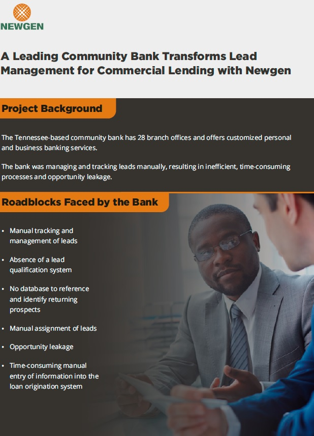 Case Study: A Leading Community Bank Transforms Lead Management for Commercial Lending with Newgen